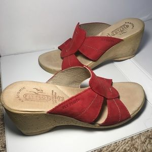 Fly Flot Wedge Sandals w/ Red Leather